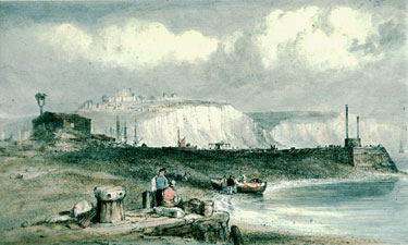 Dover Cliffs, Archcliffe beach and Pier Head, EW Cooke (1811-1880)